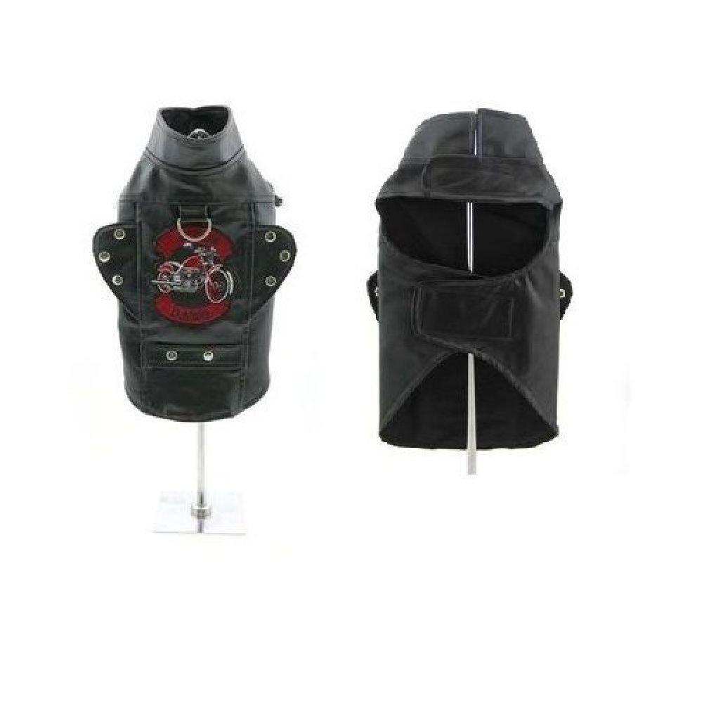 Biker Dawg Motorcycle Dog Jacket Harness Vintage Black Faux Leather Choose Size