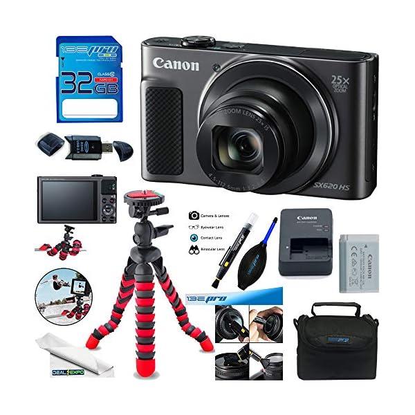 Canon PowerShot SX620 HS Digital Camera (Black) + Deal-Expo Accessories Bundle.