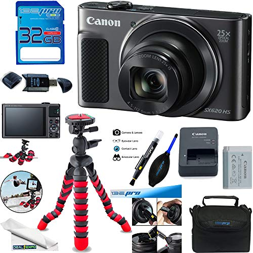 Canon PowerShot SX620 HS Digital Camera (Black) + Deal-Expo Accessories Bundle.