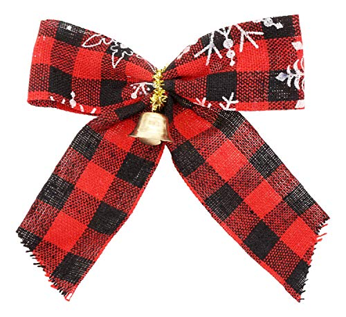 Holiday Mini Bows with Bells (16 Bows, 4 x 5 in, Plaid Red and Black) Plastic Backing, Holds Shape, Indoor/Outdoor, Christmas Wreath Party Decoration