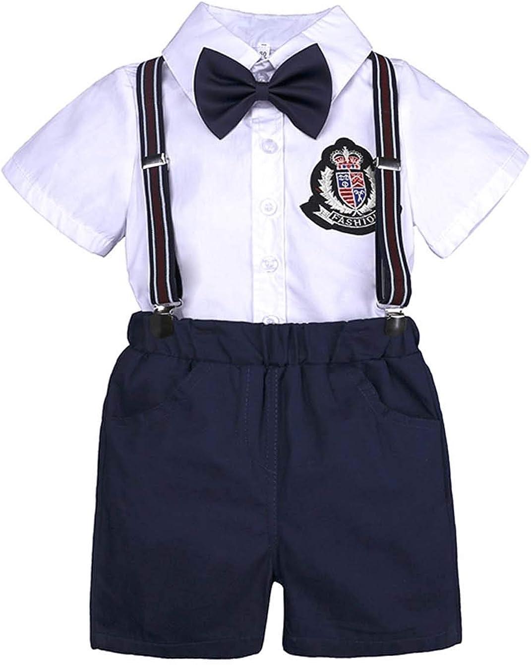Conjunto de 2 Piezas de Playera con Pajarita Pantalones Cortos Casuales para 9 Meses 7 a/ños Askong