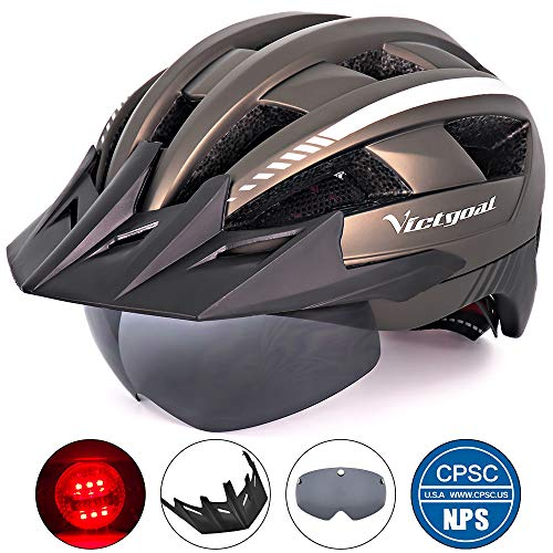 (VICTGOAL Bike Helmet for Men Women with Led Light Detachable Magnetic Goggles Removable Sun Visor Mountain & Road Bicycle Helmets Adjustable Size Adult Cycling Helmets)