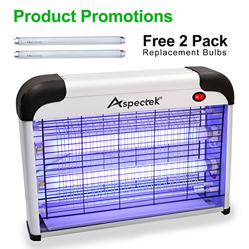 Aspectek UPGRADED 20W Electronic Bug Zapper, Insect Killer - Mosquito, Fly, Moth, Wasp, Beetle & other pests Killer for Indoor Residential & Commercial by Aspectek