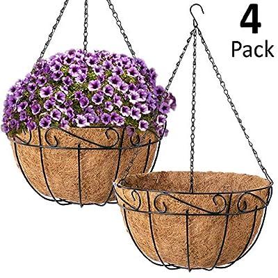 Ashman Metal Hanging Planter Basket with Coco Coir Liner Round Wire Plant Holder Chain Porch Decor Flower Pots Hanger Garden Decoration Indoor Outdoor Watering Hanging Baskets (4): Garden & Outdoor