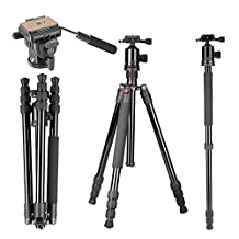 """Neewer® 64""""/163cm Tripod Monopod with 360 Degree Ball Head,Fluid Video Head,1/4""""Quick Release Plate,and Bubble Level Including Carrying Bag for DSLR Camera,Video Camcorder up to 22lbs/10kg"""