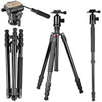 Neewer 64/163cm Tripod Monopod with 360 Degree Ball Head,Fluid Video Head,1/4Quick Release Plate,and Bubble Level Including Carrying Bag for DSLR Camera,Video Camcorder up to 22lbs/10kg