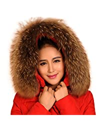 Woman's Winter Raccoon Fur Shawl Scarf Collar for Hooded Edges Trim