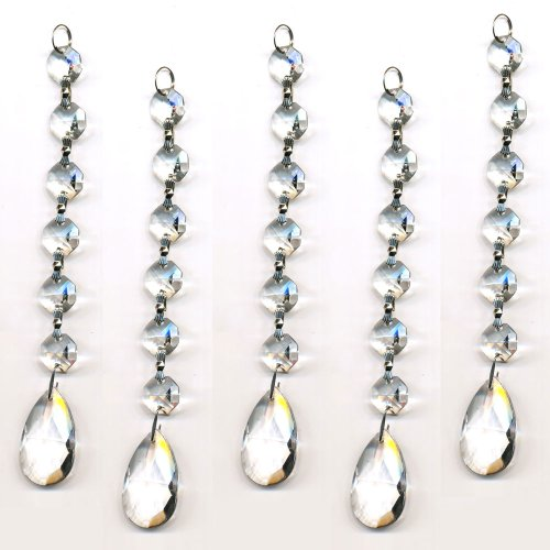 CrystalPlace Clear 5 Pieces Diamond Hanging Crystal Garland Wedding Strand with 6 Beads and Prism Pendant Accent Made with Magnificent Crystal