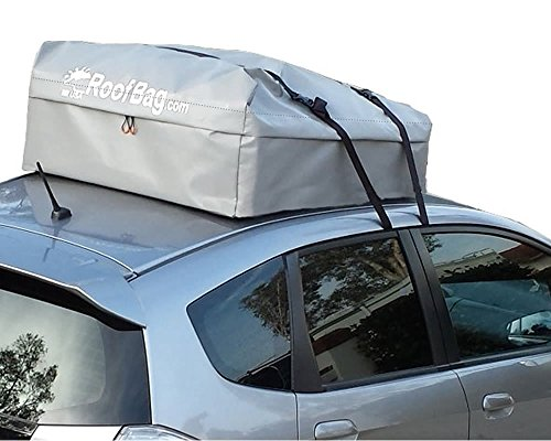 RoofBag Car Top Carrier - Made in USA - Waterproof Roof Top Bag - Fits all cars: with or without rack or side rails or cross bars - Includes heavy duty straps - 1 year warranty