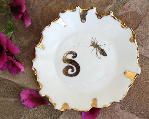 Monogrammed Favor Boxes - Monogrammed Bee Ring Dish handmade ceramic