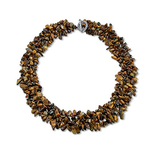 Multi Strands Simulated Tiger Eye Chips Chunky Silver Plated Necklace 18 Inches by Bling Jewelry