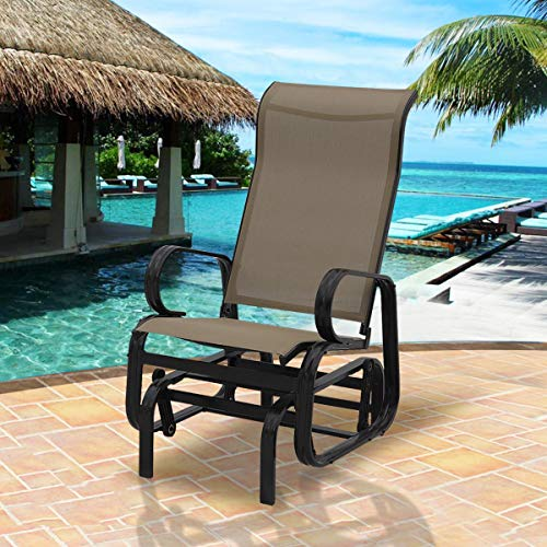 MD Group Patio Rocking Glider Armchair Beige Chair Outdoor Garden Lightweight Bench Lounger Seat by MD Group