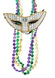 Silver And Gold Party Carnival Mardi Gras Sequin Eye Mask With 3 Multicolored 32'' Metallic Coin Beads