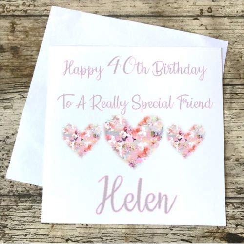 Personalised Birthday Card Sister Best Friend Auntie 40th 50th 60th 70th 80th 90 Amazoncouk Handmade