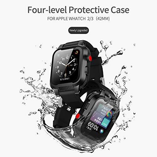 Waterproof Apple Watch Case 42mm, Waterproof Case for Apple Watch Generations 3&2, Ip68 Waterproof Dust-Proof Shockproof Case with Watchband Black by Homegician (Image #1)