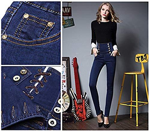 Mujeres Blau Casuales Mezclilla b Vaqueros Slim Pitillo De Cintura Pantalones Corte Las Alta La TwFfgqq87