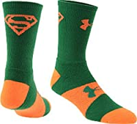Under Armour Kids Performance Supermen Symbol Crew Socks, Green/Orange, Youth Large