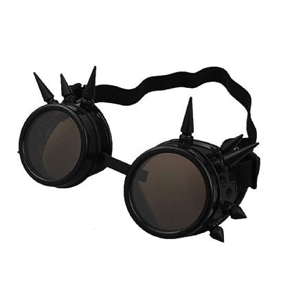 AOLVO Retro Vintage Victorian Steampunk Gafas de soldar Cyber Punk Gótico Cosplay, Negro