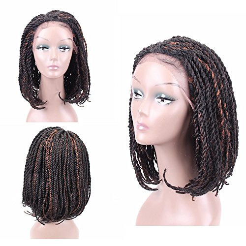 Braided Wigs Bob Style for Black Women Glueless Senegalese Twist Braided Lace Bob Wigs with Baby Hair for Daily Wear Half Hand Tied 16inches #1B/30 ()