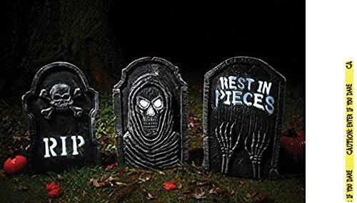 Potomac Banks Bundle: 4 Items - Set of 3 LED Bone 22 inch Tombstones and Free Caution Tape Chosen at Random]()