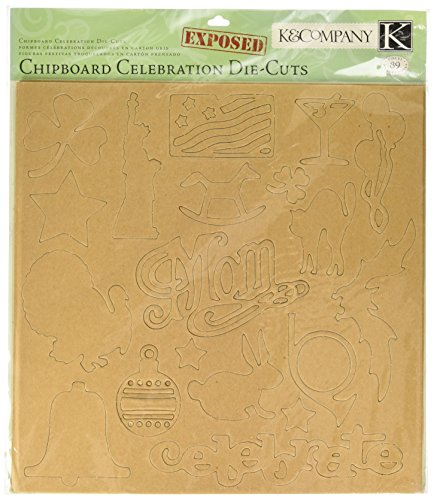 K&COMPANY Exposed Chipboard, Celebration Die-Cuts