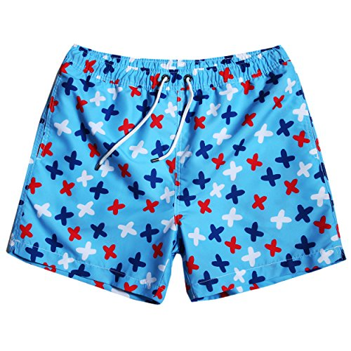 MaaMgic Mens Quick Dry Fuuny Cross Pattern Short Swim Trunks With Mesh - Shipping International For All Swimsuits