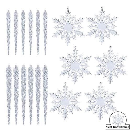 KI Store Clear Acrylic Snowflake and Icicle Ornaments Set 24pcs Assorted 4