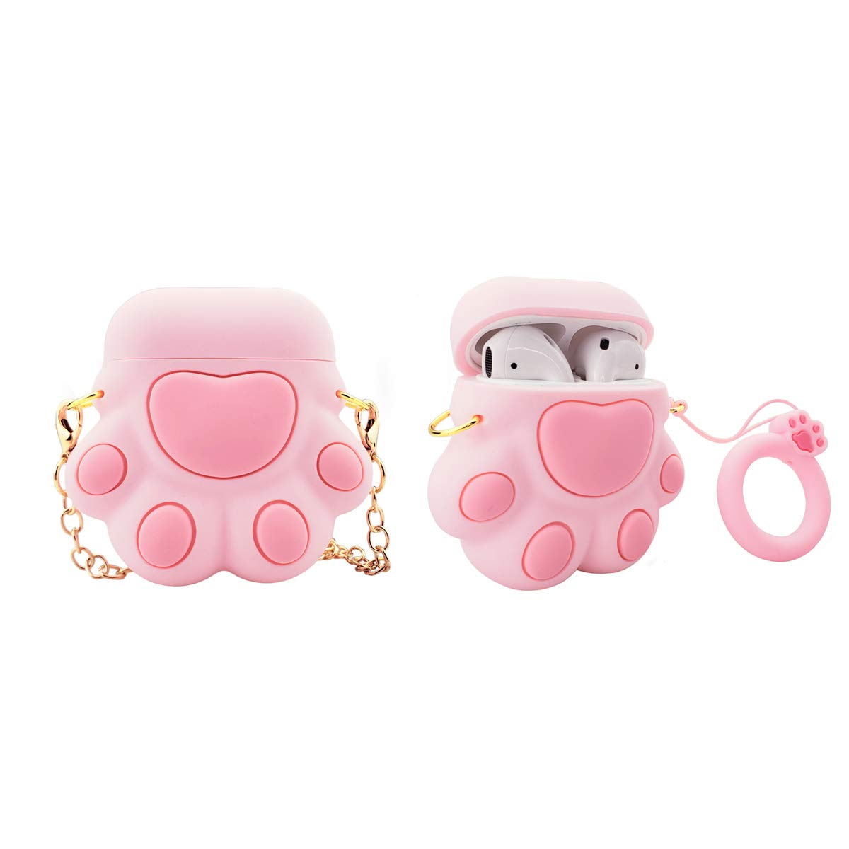 MOLOVA Case for Airpods 1&2 Case,Silicone 3D Cute Funny Cartoon Character Kawaii Airpods Cover Compatiable with Wireless Charging Case for Kids Girls Teens Women Boys (Pink Cat Claw)