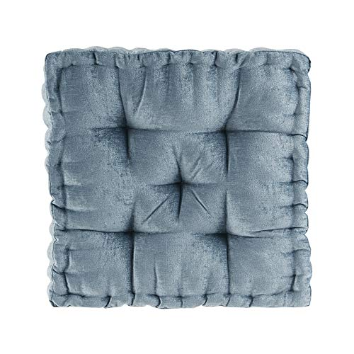 "Intelligent Design Azza Poly Chenille Square Floor Pillow Cushion, 20""x20""x5"", Aqua"