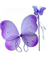 Fairy Pixie Wings & Wand Set (2pc) Select Color: purple