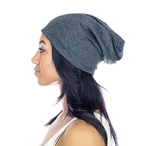 Grace Eleyae GRAY SLAP Beanie, Womens Soft Slouchy Satin Lined Cap