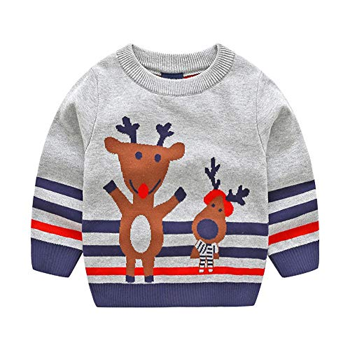 Specials!! Baby Girls Boys Christmas Sweater- Xmas Deer Striped Jacquard Long Sleeve Knitted Tops Sweatshirt Outfits (Gray, 2-3 Years)