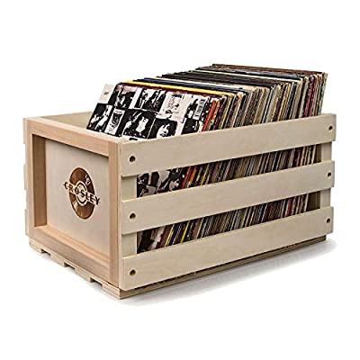 Crosley Rustic Wooden Vinyl Record Collection Portable Storage Crate by Crosley