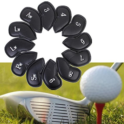HOMEPRO 12PCS PU Leather Golf Iron Club Putter Headcovers Protective Covers (Golf Ball Locator Glasses compare prices)