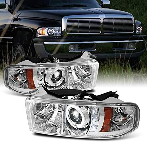 For Dodge Ram 1500/2500/3500 Pickup Clear Dual Halo Ring LED Projector Replacement Headlights Left/Right