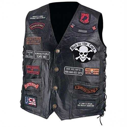Genuine Leather Buffalo Vest Biker (Diamond Plate Hand-sewn Pebble Grain Genuine Buffalo Leather Biker Vest With 23 Patches)