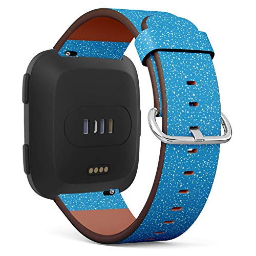 Chrome Watercolor - Compatible with Fitbit Versa - Quick Release Leather Wristband Bracelet Replacement Accessory Band - Chrome Watercolor Spots