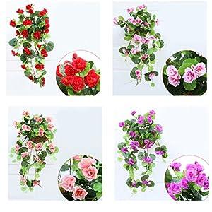 XuanhemenL Artificial Silk Begonia Flowers Vine Hanging Plant Vine DIY Garland Home red 111