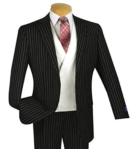 VINCI Men's Gangster Pinstriped 3pc 2 Button Classic-Fit Suit w/White Double Breasted Vest New [Color Black | Size: 42 Short/36 (New Mens Black Stripe Suit)