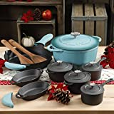 The Pioneer Woman Timeless 18-Piece TURQUOISE Cast Iron Cookware Combo Collection, Consisting of every kitchen basic Features Rustic Charm & Durability, Care And Use Manual Included
