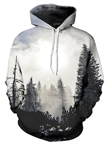UNIFACO Tree Hoodie Mens Graphic 3D Print Pullover Cool Long Sleeve Pockets Drawstring Hooded Sweatshirts ,Cloud Forest,Large / X-Large