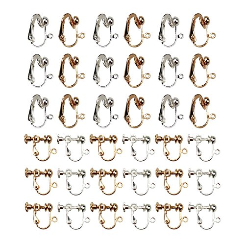36PCS Gold and Silver Plated Clip-on Earring Converter Components with Easy Open Loop for DIY Earrings by SkyCooool