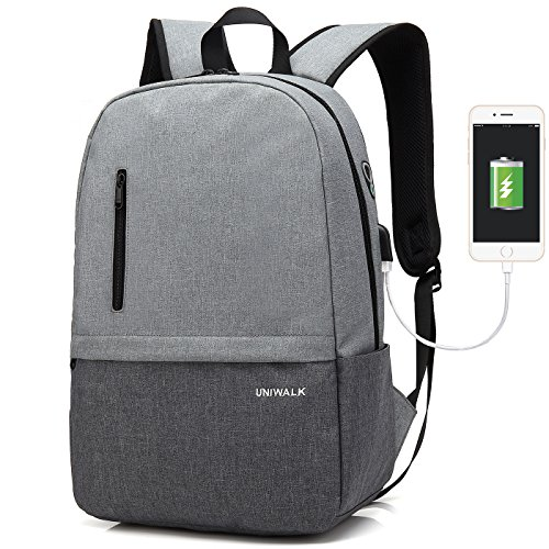 Laptop Backpack, Waterproof School Backpack With USB Charging Port For Men Women, Lightweight Anti-theft Travel Daypack College Student Rucksack Fits up to 15.6 inch Computer (Gray) by UNIWALK