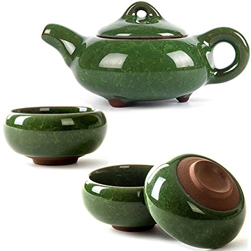 CoreLife Chinese Tea Set, Kung Fu Porcelain Handmade Ceramic Tea Set (6 Cups with Teapot) - Dark Green