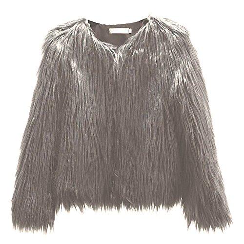 Mujeres Invierno Cálido Abrigo Corto Mujer Ropa Abrigo de piel sintética coreana lavar lana corto abrigo elegante chaqueta de manga larga, verde oscuro, Small Gris