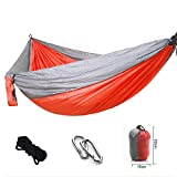Supreme Nylon Hammock-Ultralight Portable Anti-fade Single & Double Hammock for Porch Backyard Patio Camping (Orange)