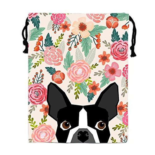 Boston Terrier Dog Florals Drawstring Bags Waterproof Party Favors Pouch Tote Bag For Women Men - Dogs 101 Boston Terrier