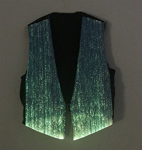 LED Fiber Optic Waistcoat Light up Vest for Men Fashion Glow in The Dark Luminous Vest (XL, Blue) by Fiber Optic Fabric Clothing (Image #4)