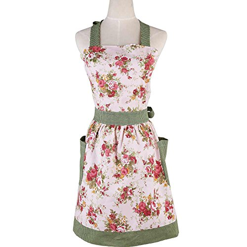 (Cotton Canvas Kitchen Apron for Women with Pocket,Aprons for Women Plus Size,Cotton Vintage Cooking Aprons Retro Bib Kitchen Apron with Extra Ties&Pockets)