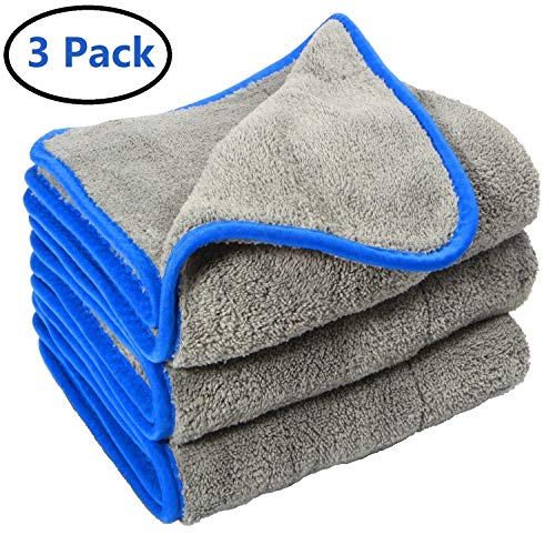 Car Drying Wash Towel Microfiber Cleaning Buffing Cloth Lint Free Premium Professional Soft Super Absorbent Ultra Thick Towel Polishing Waxing Dusting Multipurpose 1200 GSM (Grey)